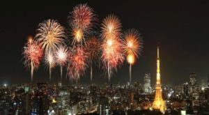 Fuochi d'artificio con tour eiffel